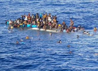 Victims of a capsized migrant boat in the Mediterranean Sea