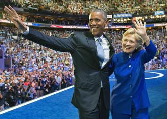 Barack Obama and Hillary Clinton at the Democratic convention