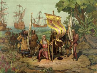 An 1893 rendition of Christopher Columbus arriving in the Americas