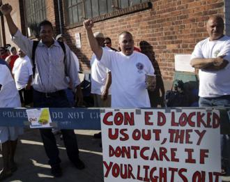 Workers locked out by Con Ed picket the company