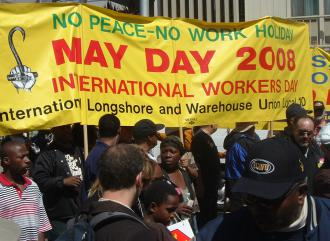 ILWU Local 10 members on the march during a May Day work stoppage to protest the war (Todd Chretien | SW)