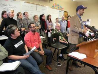 Teachers at Garfield High School speak to reporters about their refusal to administer high-stakes tests
