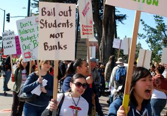 Students and staff on the picket line at San Francisco State University (Josh On | SW)