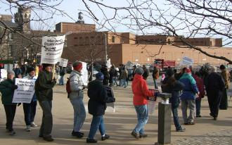 Anti-death penalty demonstrators march outside Baltimore's Supermax prison in December 2005 (Ben Dalbey | SW)
