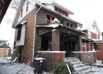 A West Detroit house where a fire likely originating from space heaters killed three
