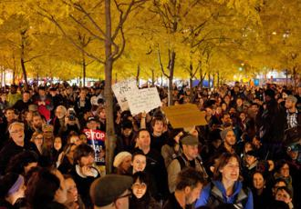 Some 1,000 people turned out for the Occupy General Assembly the night after police evicted campers