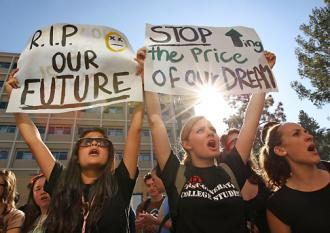 Students at the University of Southern California protest the rising cost of higher education