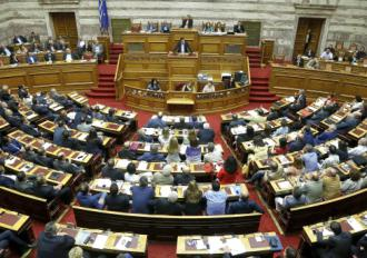 Greece's parliament listens to a speech by Prime Minister Alexis Tsipras