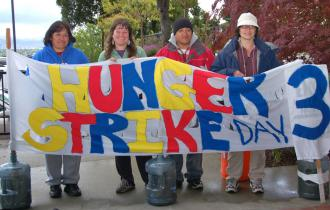 Francisca Carranza, Sarah Norr, Nelzon Lopez and Wei-Ling Huber are on hunger to draw attention to their struggle (Brooke Anderson)