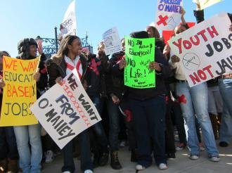 High school students take to the street in Baltimore during the March 4 Day of Action (Ben Dalbey | SW)