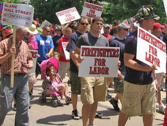 Firefighters joined other workers in new protests in Madison, Wis. (Katie Zama | SW)