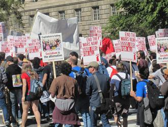"The socialist contingent on the march at the October 2 ""One Nation Working Together"" rally (Phil Gasper 