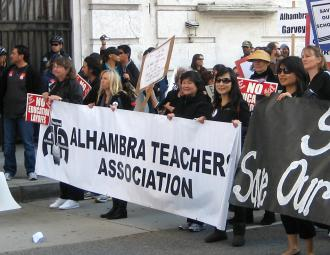 Teachers on the march at the regional rally in Los Angeles on March 4 (Rebecca Sun | SW)