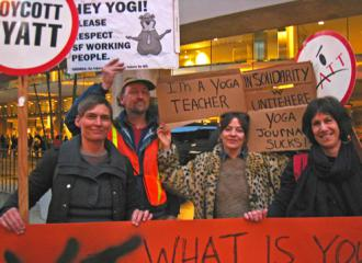 UNITE HERE members and supporters call for Yoga Journal to honor the Hyatt boycott (Carl Finamore)