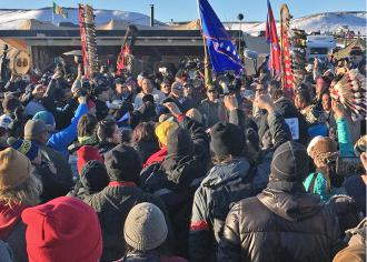 Water protectors at Standing Rock are celebrating a victory after a permit needed for construction was denied (Sumaya Awad | SW)