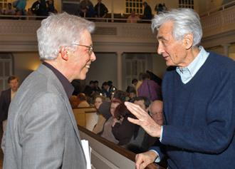James Green (left) speaks with the people's historian Howard Zinn at an event in Boston in 2006 (Randy H. Goodman)