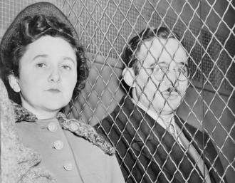 Ethel and Julius Rosenberg after leaving the New York City courthouse where they were found guilty of espionage (Roger Higgins)
