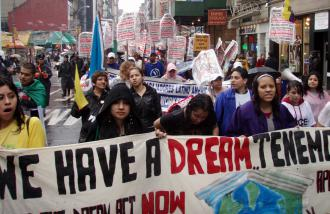 On the march for immigrant rights on May Day in New York City (Frankie Cook | SW)