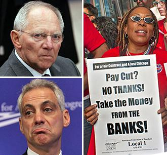 Clockwise from top left: Wolfgang Schäuble; Chicago teachers protest budget cuts; and Rahm Emanuel