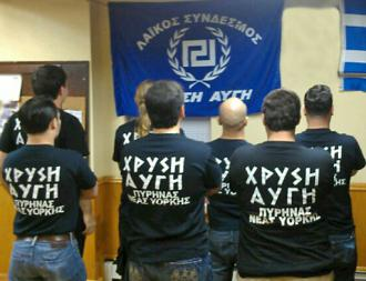 New York supporters of the Greek neo-Nazi party Golden Dawn