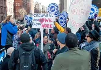 Julie Kushner, director of UAW Region 9a, speaks to a rally of union workers outside Columbia University (Anastasia Kirtiklis)