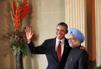 President Obama with Manmohan Singh during his visit to India (Samantha Appleton)