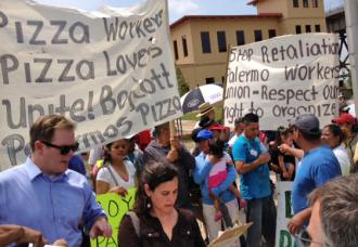 Striking workers and supporters gathered for a press conference at the Palermo's Pizza plant (Ben Ratliffe | SW)