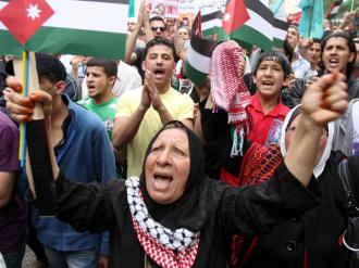 Protesters call for an end to Israeli occupation and apartheid