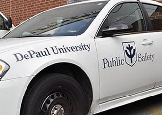 A public safety vehicle at DePaul University in Chicago