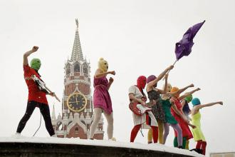 Members of Pussy Riot perform in Moscow