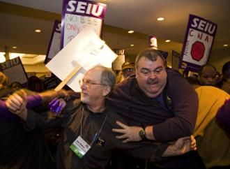 SEIU members organized by union officials try to break into the Labor Notes conference (Zuma)