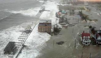 Hurricane Sandy's flood surge inundates the boardwalk and beyond in Atlantic City, N.J.