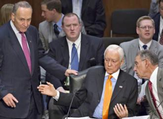 Members of the Senate Judiciary Committee discuss proposed immigration legislation