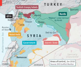 Map of Syria after Turkey's invasion of Afrin (TheEconomist.com)