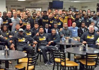 The University of Missouri football team announces its strike