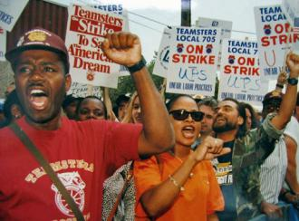 UPS workers on the picket line during their 1997 strike