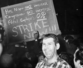 Postal workers on a wildcat strike rally and march in 1970