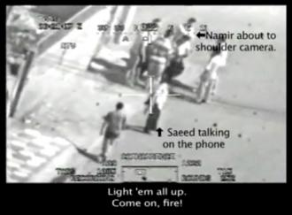 The leaked video shows a U.S. military helicopter's sights set on two Reuters employees among a group of Iraqis in Baghdad (wikileaks.org)