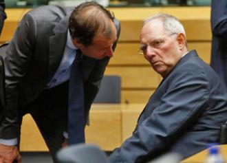 German Finance Minister Wolfgang Schäuble (right) with another Eurogroup minister who dictated austerity to Greece