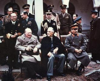Winston Churchill, Franklin Roosevelt and Joseph Stalin at the Yalta Summit in 1945