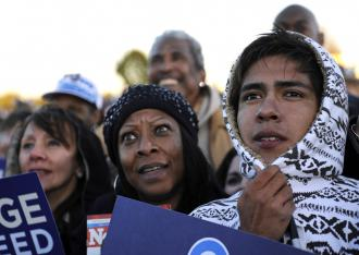 Supporters of Barack Obama at a campaign rally in Leesburg, Va. (Emmanuel Dunand | AFP)