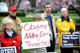 The anti-abortion side's hyped protest of Barack Obama's Notre Dame speech was tiny (Tim Sloan   AFP)