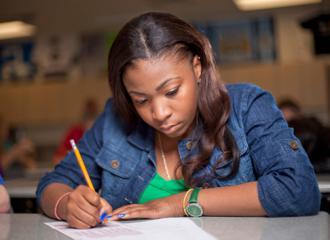 High school students take a standardized test