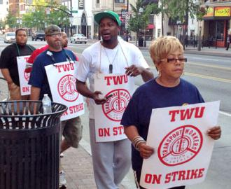 Bus drivers on the picket line outside COTA offices in Columbus, Ohio