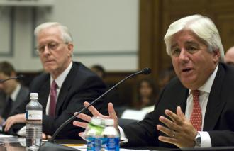 Two former CEOs of insurance giant AIG, Robert Willumstad and Martin Sullivan, testify before Congress (Scott Ferrell | Congressional Quarterly)