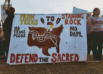 Native Americans lead a demonstration in Austin against all pipelines from Texas to Standing Rock