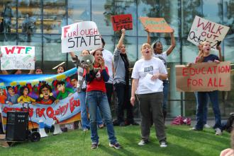 Fresno State protesters demonstrating against budget cuts and furloughs last October (Diane M. Blair)