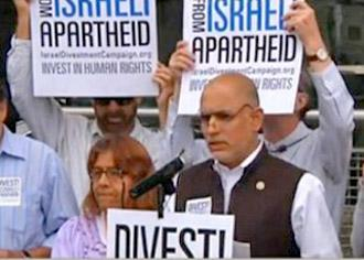 Solidarity activists hold a press conference in California calling for the state to divest from Israeli apartheid