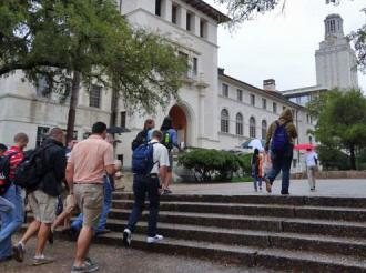 Students return to the UT Austin campus after an evacuation