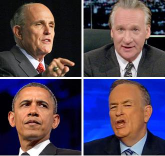 Clockwise from top left: Rudolph Giuliani, Bill Maher, Bill O'Reilly and Barack Obama